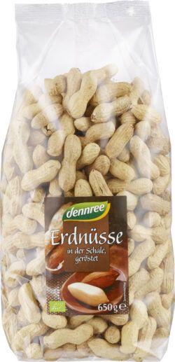 dennree Erdnüsse in der Schale, geröstet 4x650g