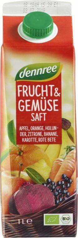 dennree Frucht- & Gemüsesaft rot - Apfel, Orange, Holunder, Zitrone, Banane, Karotte, Rote Bete 8x1l