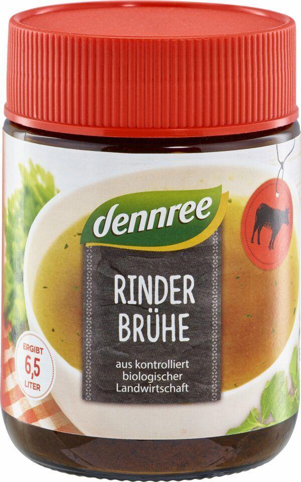 dennree Rinderbrühe mit 18,5% Rindfleischanteil 6x130g