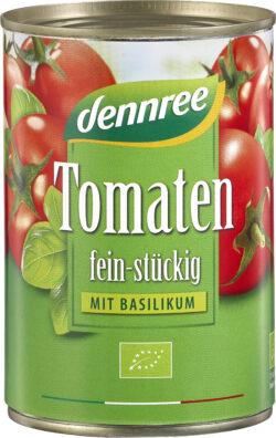 dennree Tomaten fein-stückig mit Basilikum 12x400g