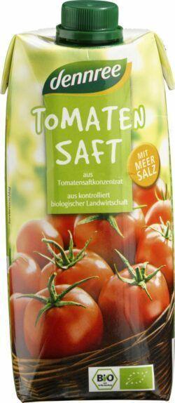 dennree Tomatensaft, aus Tomatensaftkonzentrat, mit Meersalz 12x0,5l