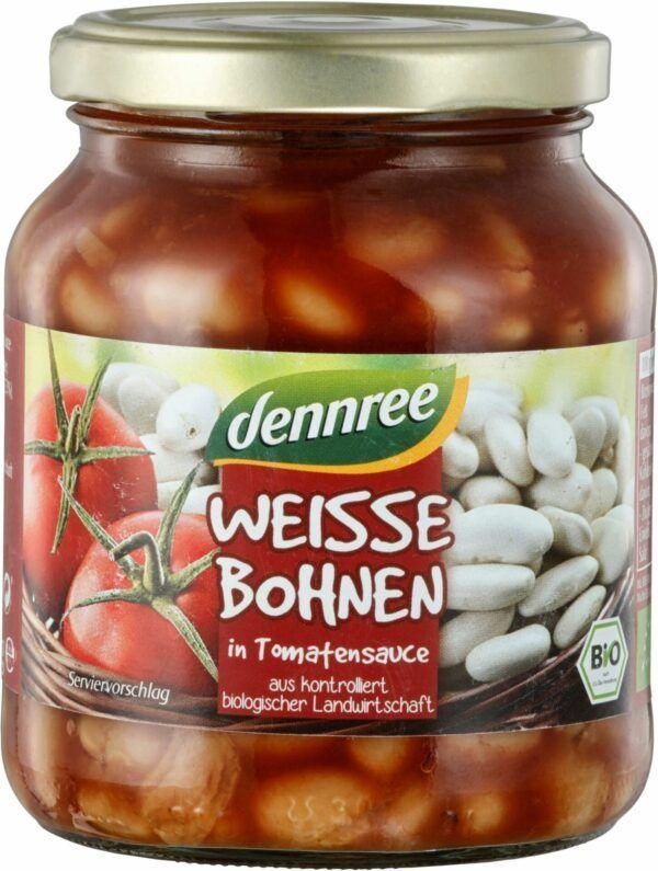 dennree Weiße Bohnen in Tomatensauce 6x350g