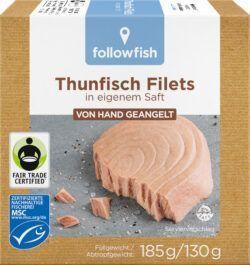 followfish MSC Thunfisch Filets in eigenem Saft, aus Angelruten-Fischerei 8x185g