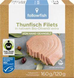 followfish MSC Thunfisch Filets in Bio-Olivenöl extra, von Hand geangelt 8x160g