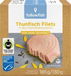 followfish MSC Thunfisch Filets in Bio-Sonnenblumenöl, aus Angelruten-Fischerei 8x185g
