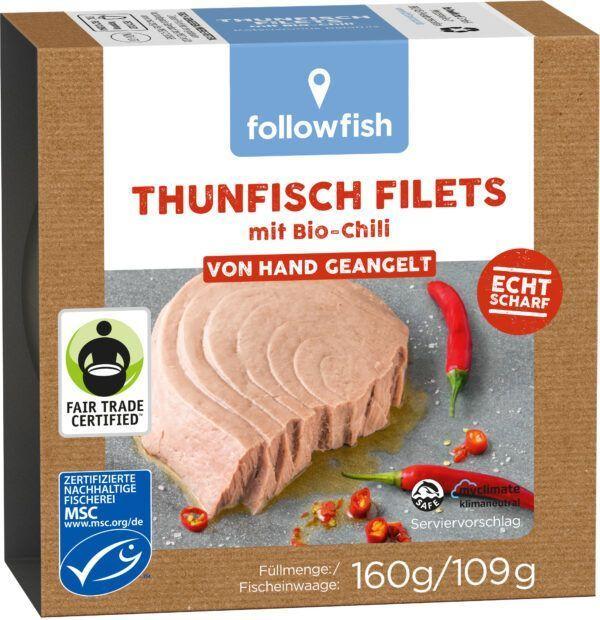 followfish MSC Thunfisch Filets mit Bio-Chili, von Hand geangelt 8x160g