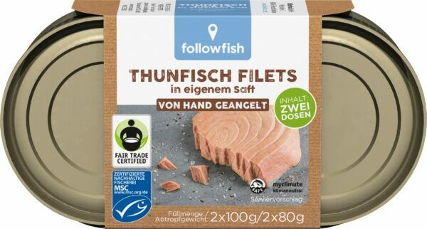 followfish MSC Thunfisch Filets in eigenem Saft, aus Angelruten-Fischerei 9x200g