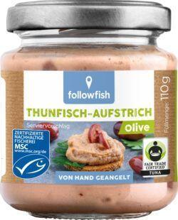followfish Thunfisch-Aufstrich Olive mit Thunfisch aus nachhaltigem Wildfang und Bio-Zutaten 6x110g