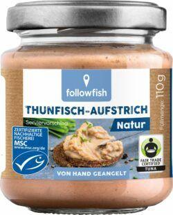 followfish Thunfisch-Aufstrich Natur mit Thunfisch aus nachhaltigem Wildfang und Bio-Zutaten 6x110g