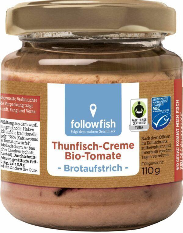 followfish Thunfisch-Creme Bio-Tomate, Brotaufstrich, mit Thunfisch aus nachhaltigem Wildfang und feinen Bio-Zutaten 115g