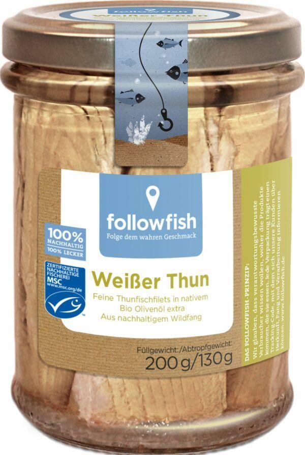 followfish Weißer Thun, feine Thunfischfilets in nativem Bio-Olivenöl extra 6x200g