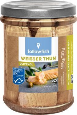 followfish Weißer Thun, feine Thunfischfilets in nativem Bio-Olivenöl extra 6x165g