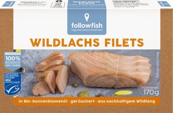 followfish Wildlachs Filets in Bio-Sonnenblumenöl, heiß geräuchert, mit Haut 10x170g