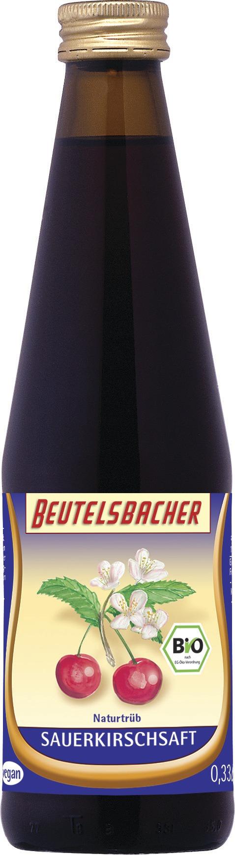 BEUTELSBACHER Bio Sauerkirschsaft naturtrüber Direktsaft 12x0,33l