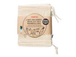 memo AG 2 memo Bio-Baumwollbeutel für Obst und Gemüse 24x2Stück