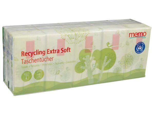 memo AG memo 15x10 Taschentücher Recycling extra soft, 4-lagig 15x15Stück
