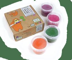 neogrün Bio-Easy-Knete 4er Set LOKI - orange, grün, pink, violett 480g
