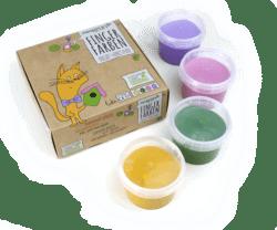 neogrün Bio-Fingerfarbe 4er Set LUKA - gelb, grün, pink, violett 480g