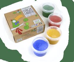neogrün Bio-Fingerfarbe 4er Set AKI - rot, gelb, grün, blau 480g