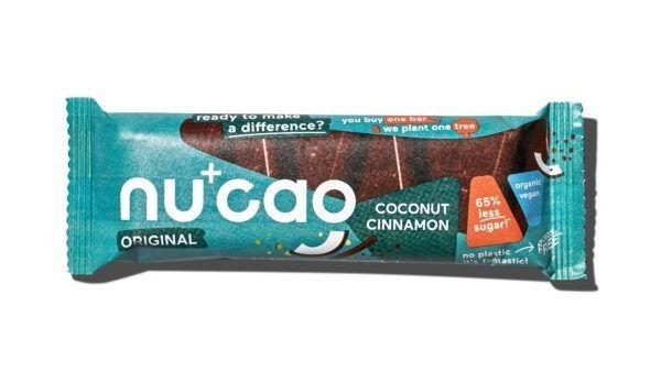 nucao Bio-Schokolade mit Hanfsamen mit Geschmack Kokos Zimt 12x40g