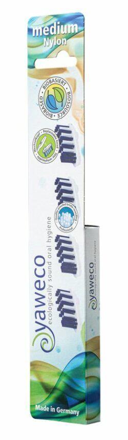 yaweco Nachfüllpackung 4 Ersatzköpfe medium für Wechselkopfzahnbürste I und II 6x4Stück