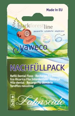 yaweco Nachfüllpack Zahnseide aus reiner Seide mit Bienenwachs ( 2x 25 m) 6x1Stück