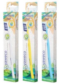 yaweco Wechselkopfzahnbürste II, medium, komplett aus biobasierten Materialien 6x1Stück